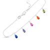 """Billede af By Pind armbånd sølv rhodineret """"Rainbow"""" med farvet zirkoniasten (16-18,5cm)"""
