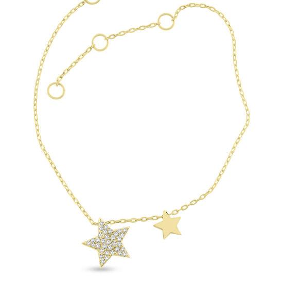 Billede af By Pind armbånd sølv forgyldt med stjerne vedhæng med zirkoniasten (16+3cm)