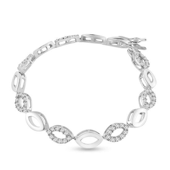 Billede af By Pind armbånd sølv rhodineret med zirkoniasten (19 cm)