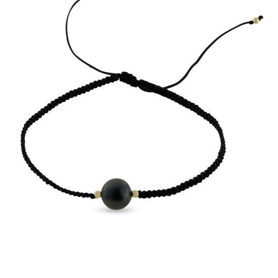 Billede af By Pind armbånd sølv forogyldt med knyttet nylon og ferskvandsperle (16-21 cm)