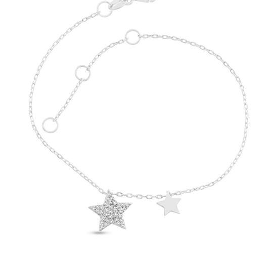 Billede af By Pind armbånd sølv rhodineret med stjerne vedhæng med zirkoniasten (16+3cm)