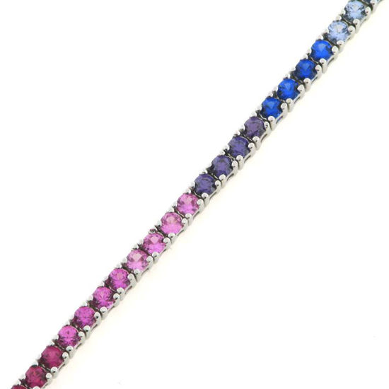 """Billede af By Pind tennisarmbånd sølv rhodineret """"Rainbow"""" farvede zirkoniasten (17-19 cm)"""