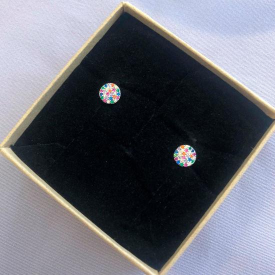 Billede af By Pind Colorful ørestikker sølv paveret med farvede zirkoniasten