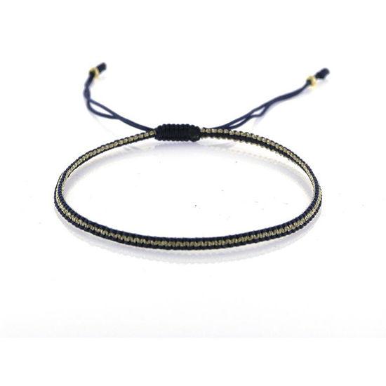 Billede af By Pind Colorful knyttet armbånd mørkeblå og guldfarvet med sølv forgyldte kugler