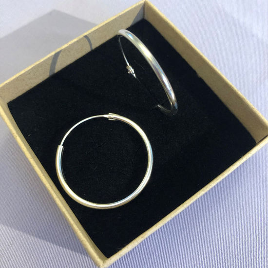 Billede af By Pind creol sølv med vippelås 20x2mm (2cm i diameter)