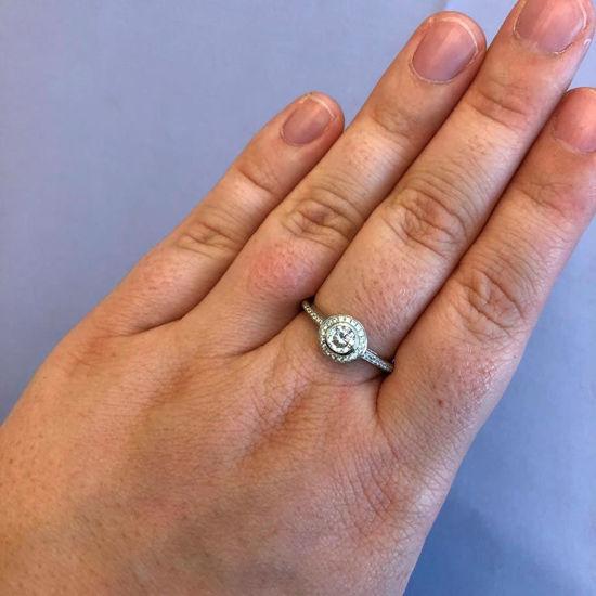 Billede af By Pind roset ring sølv rhodineret zirkoniasten str. 58